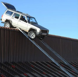 Drug smugglers attempted to drive this SUV over the border on ramps